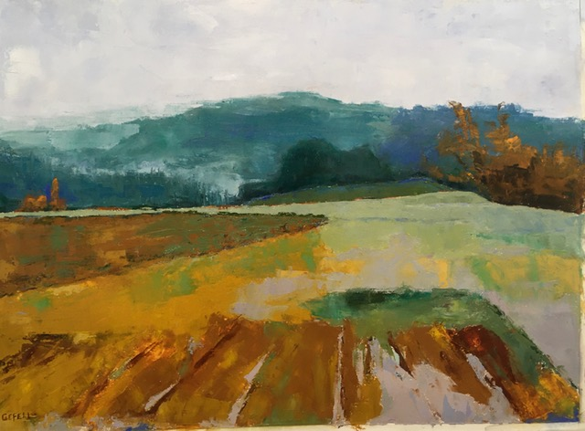 Autumn Field (oil on oil paper) by artist Kathleen Gefell, New York
