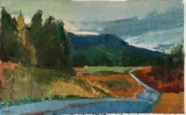 Blue Road (oil on oil paper) by artist Kathleen Gefell, New York
