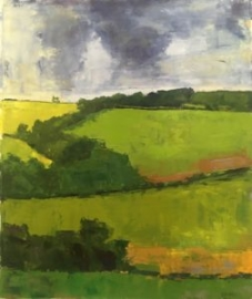 Green Hill (oil on oil paper) by artist Kathleen Gefell, New York