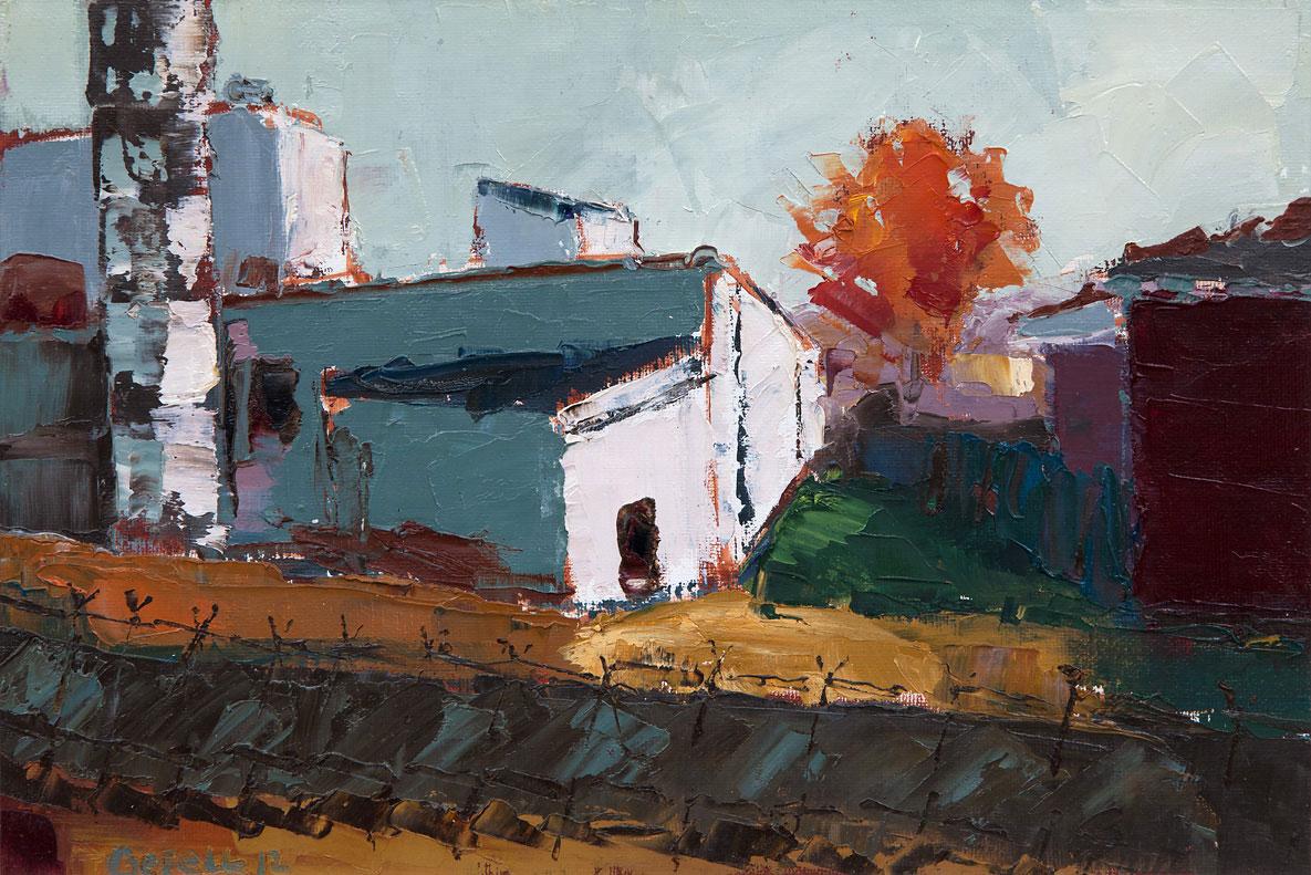 Orange Tree (oil on canvas paper) by artist, Kathleen Gefell