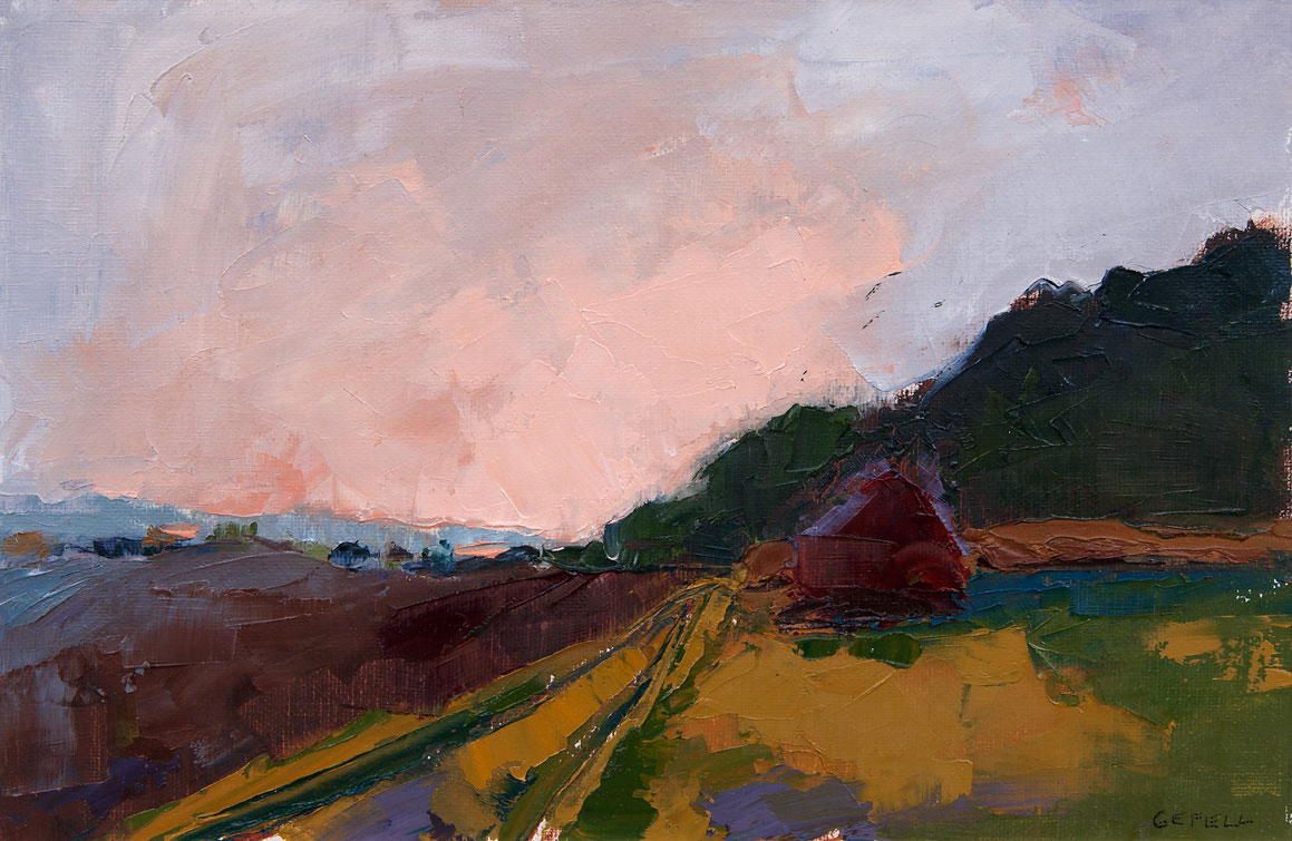 Red House (oil on canvas paper) by artist Kathleen Gefell