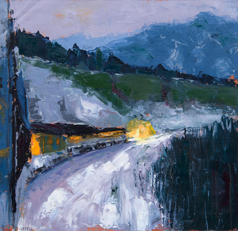 Train Lights (oil on canvas paper) by artist Kathleen Gefell