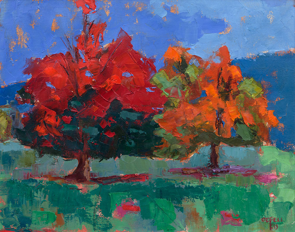 Two Trees (oil on canvas paper) by artist Kathleen Gefell