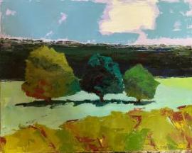 Three Trees (oil on canvas) by artist Kathleen Gefell