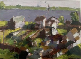 River Houses (oil on canvas paper) by artist Kathleen Gefell