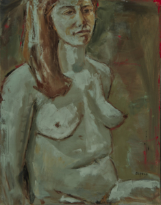 Green Nude (oil on canvas) by artist Kathleen Gefell, New York