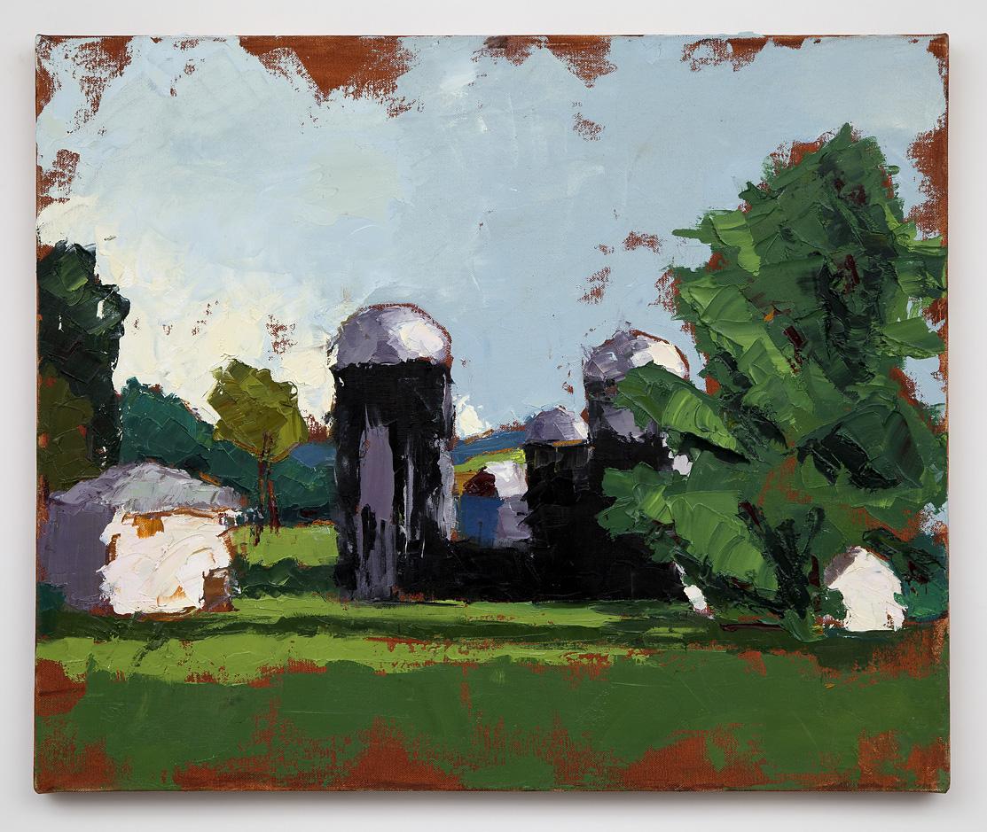 Black Silos  (oil on canvas) by artist Kathleen Gefell, New York