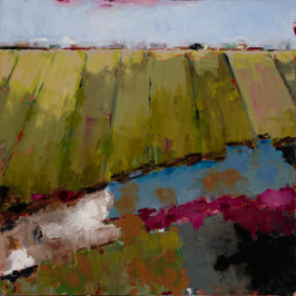 Striped Fields  (oil on canvas) by artist Kathleen Gefell, New York